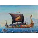 Корабль викингов с экипажем